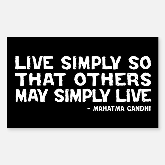 Quote - Gandhi - Live Simply Rectangle Decal