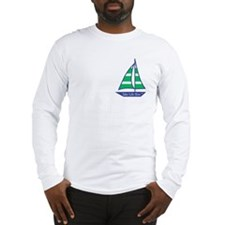 Green Stripes Sailboat, Long Sleeve T-Shirt