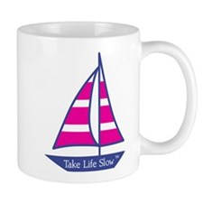 Pink Stripes Sailboat , Mug