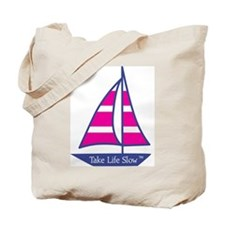Pink Stripes Sailboat , Tote Bag