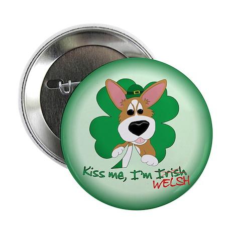 Kiss Me Corgi Button