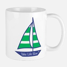 Green Stripes Sailboat, Mug