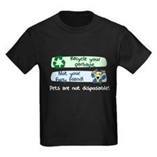 Pets are Not Disposable Kids Dark TShirt (Wht Txt)