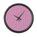 Pink Stripes Large Wall Clock