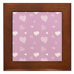 Pink Hearts Framed Tile