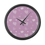 Pink Hearts Large Wall Clock