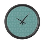 Teal Confetti Large Wall Clock