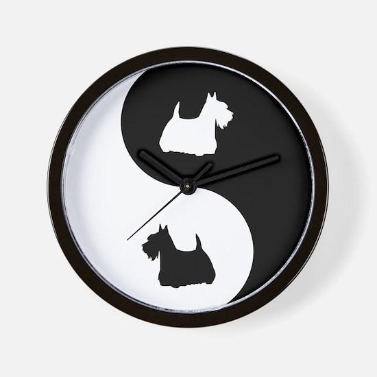 Yin Yang Scottie Wall Clock