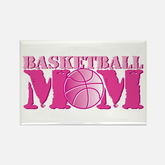 Basketball Mom Pink Rectangle Magnet