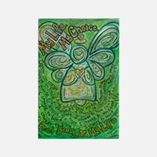 My Life Green Cancer Angel Rectangle Magnet