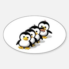 Flock of Penguins Oval Decal