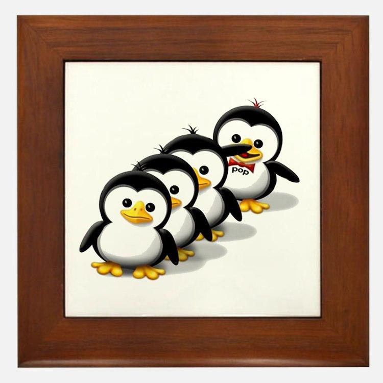 Flock of Penguins Framed Tile