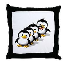 Flock of Penguins Throw Pillow
