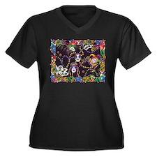 Cute Harlequin Women's Plus Size V-Neck Dark T-Shirt