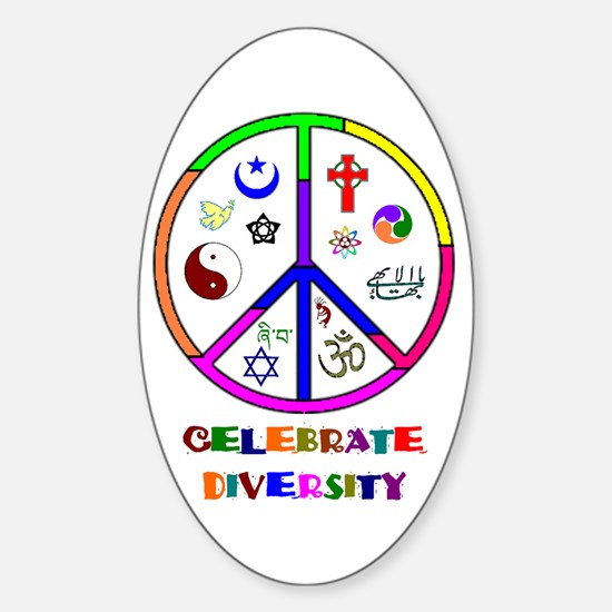 Celebrate Diversity Oval Decal