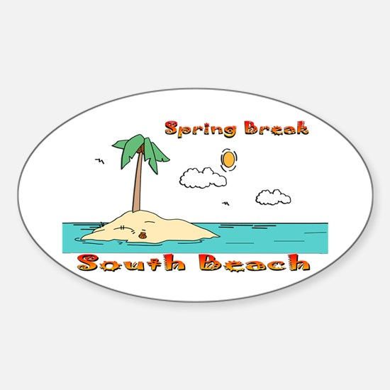 Spring Break South Beach Oval Decal