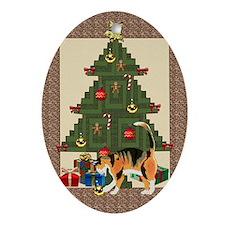 Tree trimming cat Oval Ornament