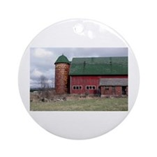 Country Barn Ornament (Round)