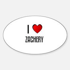 I LOVE ZACHERY Oval Decal