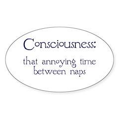 Consciousness Naps Oval Sticker (10 pk)