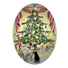 Christmas tree dog & cat Oval Ornament