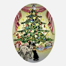 Christmas tree dog & cat Oval Ornament