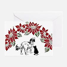 Pointsettia dog & cat Greeting Cards (Pk of 10