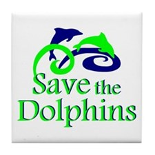 Save the Dolphins Tile Coaster
