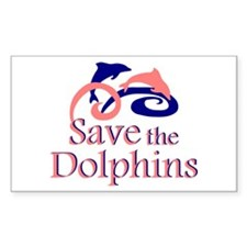 Save the Dolphins Rectangle Sticker 50 pk)