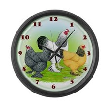 Assorted Brahma Fowl Large Wall Clock
