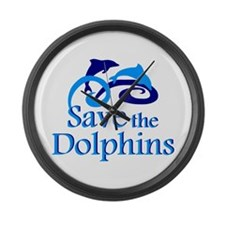 Save the Dolphins Large Wall Clock