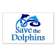 Save the Dolphins Rectangle Decal