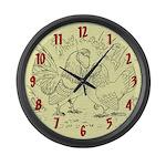 Canvas Bantams Large Wall Clock