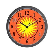 Yellow Sunburst Large Numbers Wall Clock