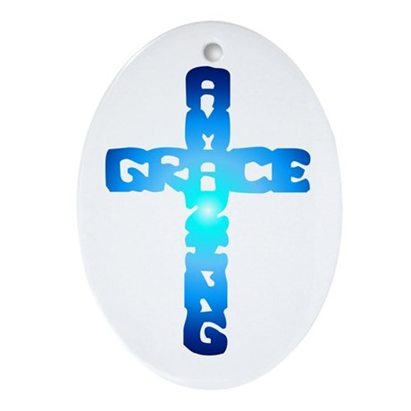 Amazing Grace Cross Oval Ornament