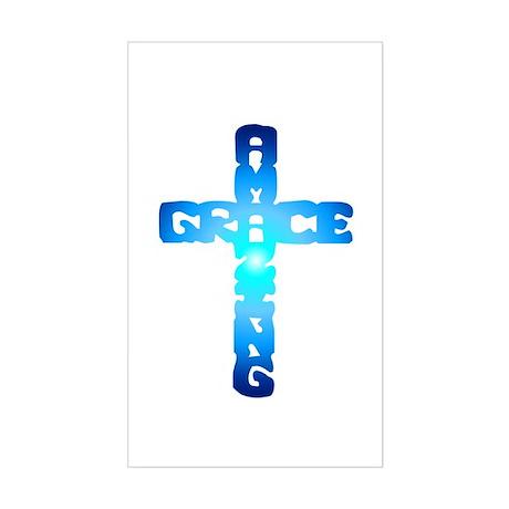 Amazing Grace Cross Rectangle Sticker