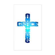 Amazing Grace Cross Rectangle Stickers