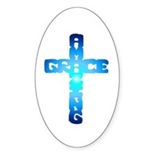 Amazing Grace Cross Oval Decal