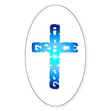 Amazing Grace Cross Oval Stickers