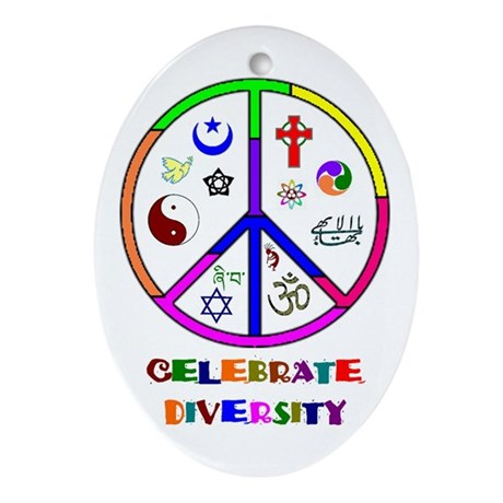 Celebrate Diversity Oval Ornament