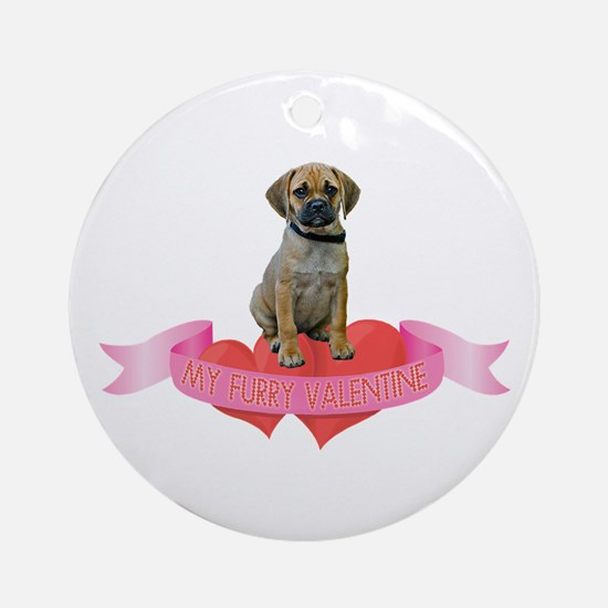 Puggle Valentine Ornament (Round)