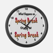 Spring Break What Happens Large Wall Clock