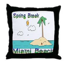 Spring Break Miami Beach Throw Pillow