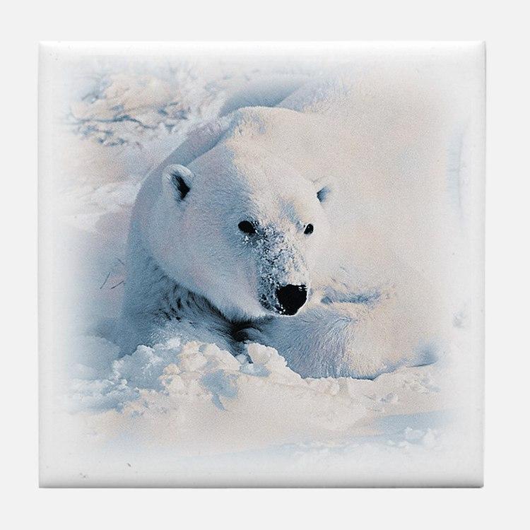 Polar Bear & Snow Tile Coaster