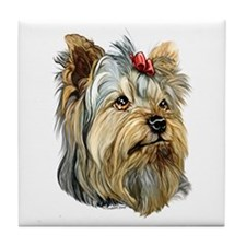 Yorkie Red Bow Tile Coaster