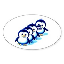 Flock of Penguins 2 Oval Decal