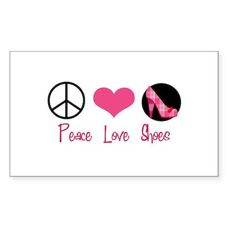 Peace Love Shoes Rectangle Sticker