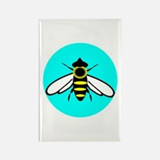 Blue Bee Circle Rectangle Magnet