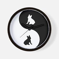 Yin Yang French Bulldog Wall Clock