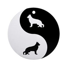 Yin Yang German Shepherd Ornament (Round)